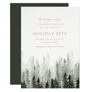 Invitations de fête de vacances de forêt de pin
