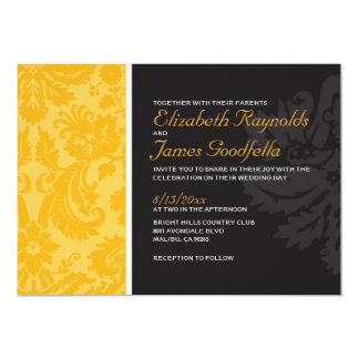 Invitations de mariage damassé d'or