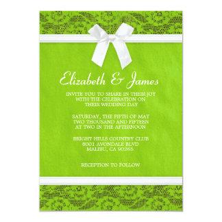 Invitations de mariage de dentelle de pays de vert