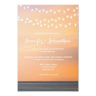 Invitations de mariage de plage de coucher du