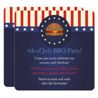 Invitations de partie de BBQ 4 juillet