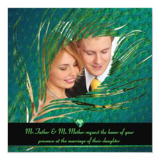 Invitations de photo de mariage de paon