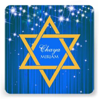 Invitations de scintillement de bat mitzvah d'étoi
