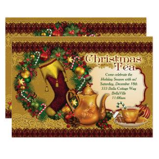 Invitations de thé de Noël de vacances