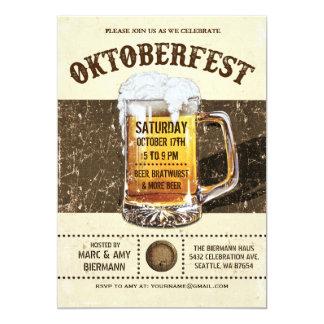 Invitations d'Oktoberfest - v.2 rustique vintage