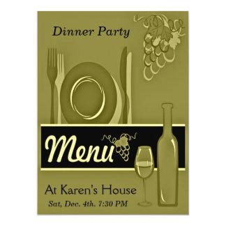 Invitations élégantes de dîner d'or