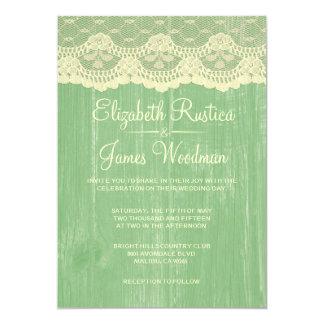 Invitations en bois de mariage de dentelle