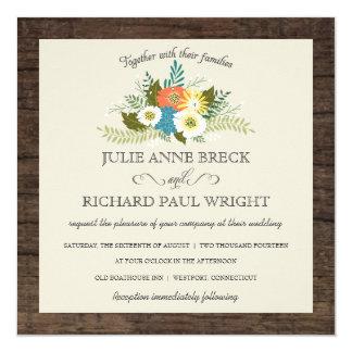 Invitations en bois de mariage de grange florale