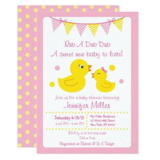 Invitations en caoutchouc roses de baby shower de