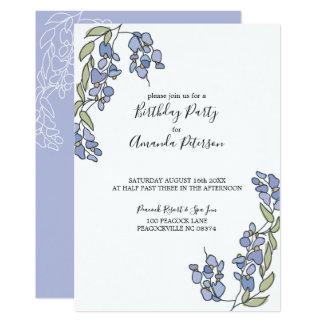 Invitations florales d'anniversaire de glycines