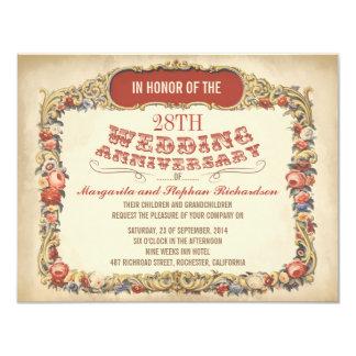 invitations florales d'anniversaire de victorian
