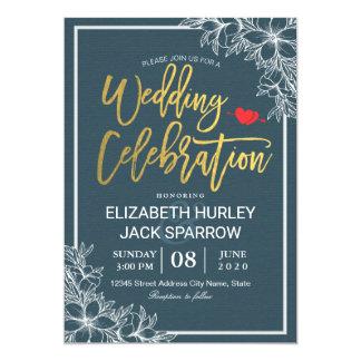 Invitations florales de célébration de mariage de