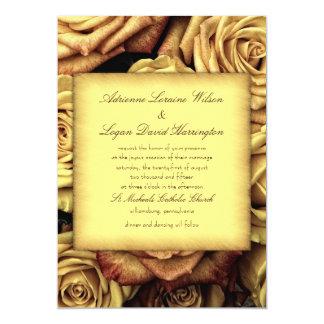 Invitations florales de mariage de jaune vintage
