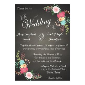 Invitations florales de mariage de tableau