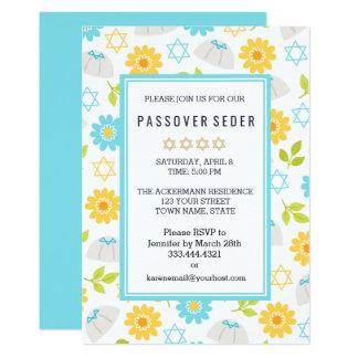 Invitations florales de Sedar de pâque de