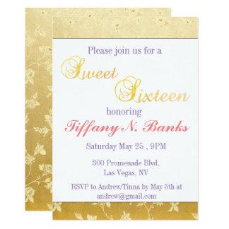 Invitations florales d'or de sweet sixteen