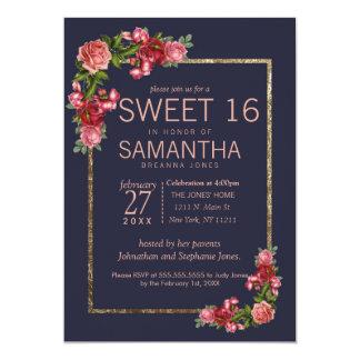 Invitations florales du bonbon 16 à or de rose de