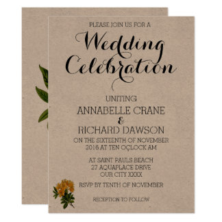 Invitations florales jaunes vintages de mariage
