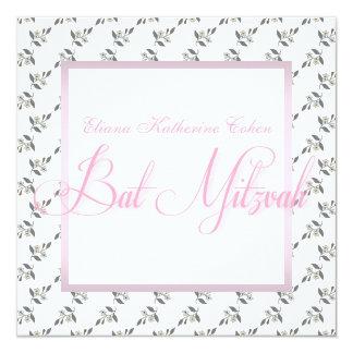 Invitations florales roses blanches de bat mitzvah