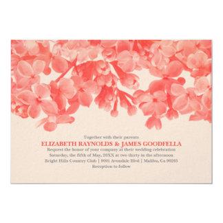 Invitations florales rouges de mariage