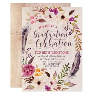 Invitations florales rustiques d'obtention du