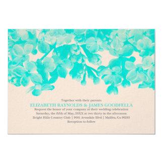 Invitations florales turquoises de mariage