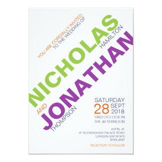 Invitations gaies de mariage de typographie chic