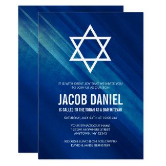 Invitations grunges bleues modernes de Mitzvah de