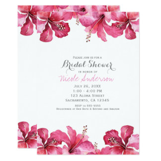 Invitations hawaïennes florales de ketmie rose