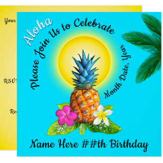 Invitations hawaïennes gaies d'anniversaire