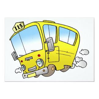 Invitations jaunes d'autobus de bande dessinée
