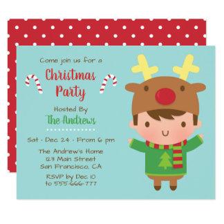 Invitations mignonnes de fête de Noël de casquette