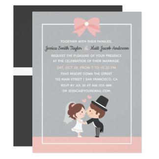 Invitations mignonnes de mariage de ruban de