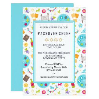 Invitations modernes colorées de Sedar de pâque