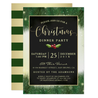 Invitations modernes de dîner de Noël de vert et