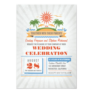 Invitations modernes de mariage de plage