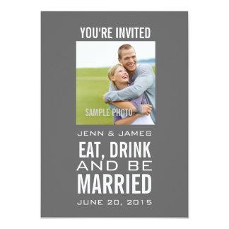 Invitations modernes grises de mariage de photo