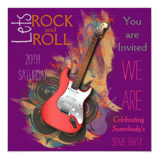Invitations musicales personnalisées de guitare