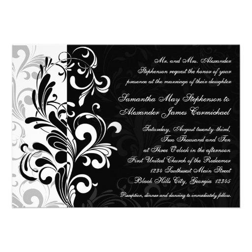 Invitations noires/blanches contemporaines de mari