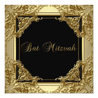 Invitations noires de bat mitzvah d'or