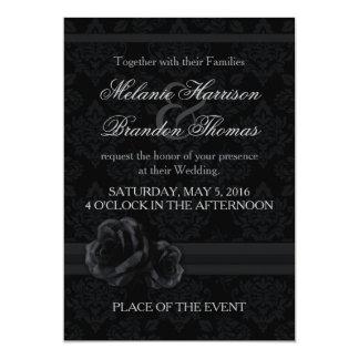 Invitations noires et blanches de mariage avec