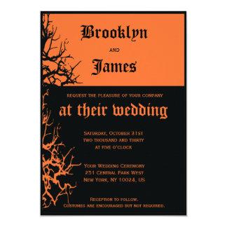 Invitations noires et oranges de mariage de