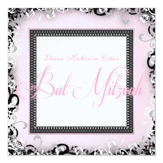Invitations noires roses de bat mitzvah de remous