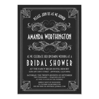 Invitations nuptiales argentées vintages de douche