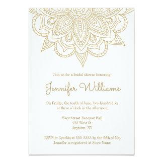 Invitations nuptiales de douche de mandala d'or
