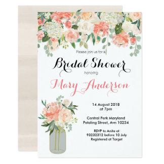Invitations nuptiales florales de douche de pot de