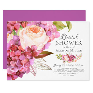 Invitations nuptiales florales de douche de rose