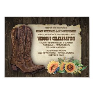 Invitations occidentales de mariage de tournesol