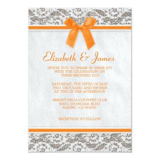 Invitations oranges de mariage de dentelle de pays