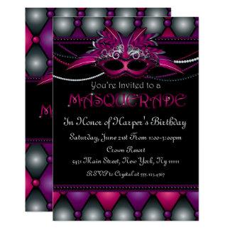 Invitations pourpres de partie de mascarade